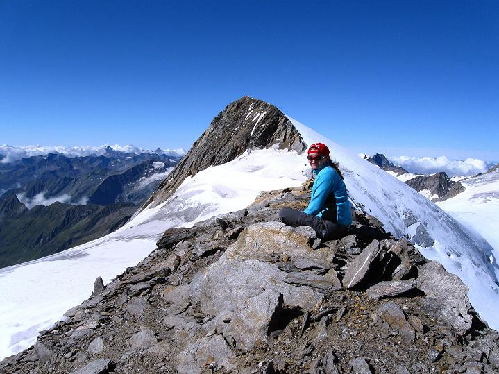 Foto: Andreas Koller / Wander Tour / Schwarze Wand und Hoher Zaun - stille Gipfeltour vom Defregger Haus (3507 m) / Auf der Schwarzen Wand mit Blick zum Rainerhorn (3560 m) / 23.09.2008 23:53:15