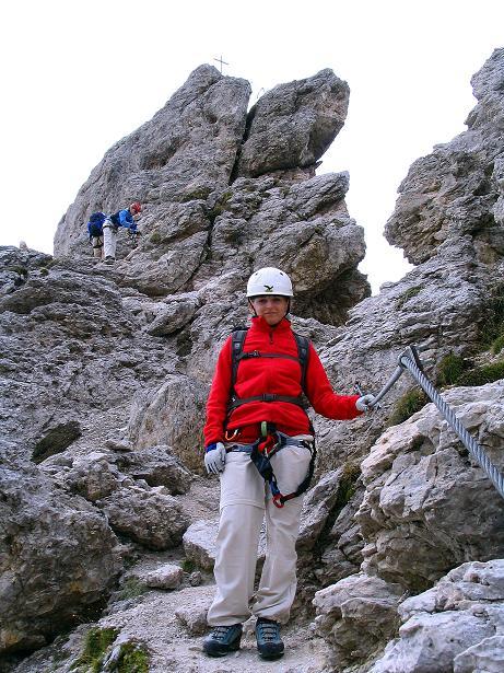 Foto: Andreas Koller / Klettersteig Tour / Ferrata Cir V (2520m) / Unter dem Gipfelaufbau / 24.09.2008 00:41:36