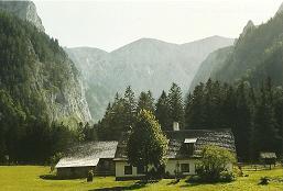 Foto: Wolfgang Dröthandl / Wander Tour / Durch die Höll - von Wegscheid nach Weichselboden / Jagdhaus in der Vorderen Höll mit Severinkogel und Unterem Ring / 21.01.2011 08:18:23