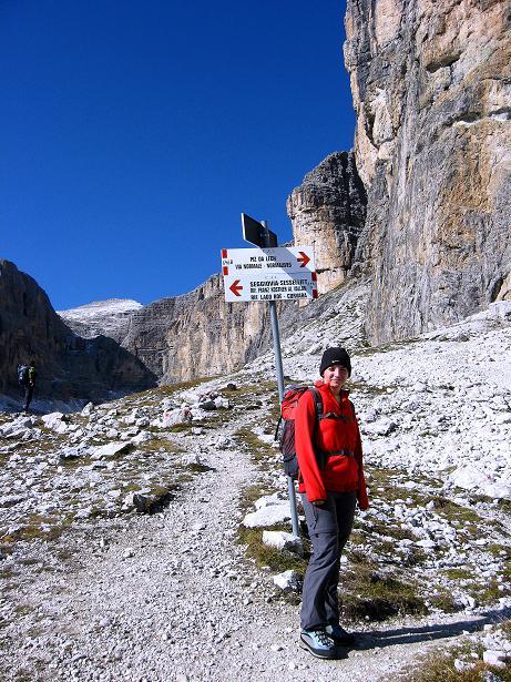 Foto: Andreas Koller / Klettersteig Tour / Piz da Lech (2910m): Südkar-Anstieg oder Klettersteig / Bei der Teilung der verschiedenen Klettersteige / 25.09.2008 20:19:56