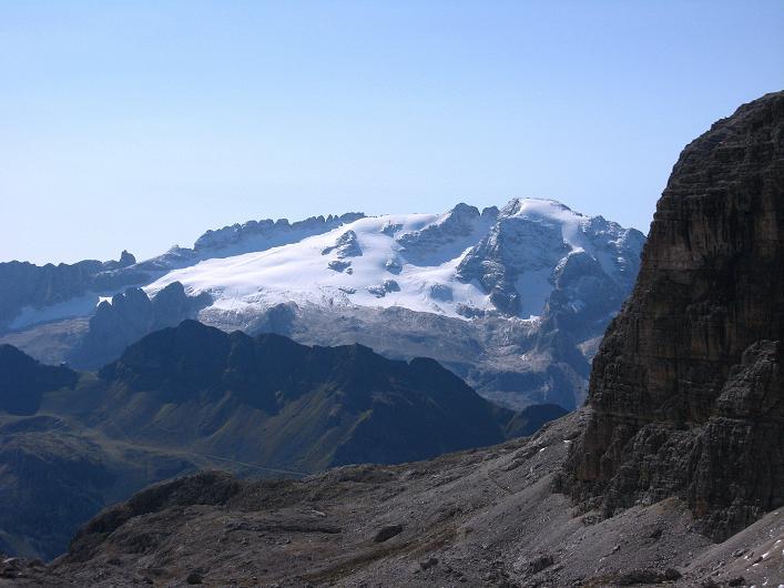 Foto: Andreas Koller / Klettersteig Tour / Piz da Lech (2910m): Südkar-Anstieg oder Klettersteig / Blick auf die Marmolada (3343 m) / 25.09.2008 20:16:54