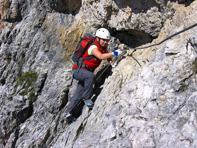 Foto: Andreas Koller / Klettersteig Tour / Piz da Lech (2910m): Südkar-Anstieg oder Klettersteig / Ausgesetzte Querung mit perfekter Klettersteigtechnik gemeistert / 25.09.2008 20:14:34