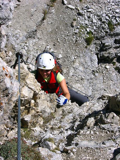 Foto: Andreas Koller / Klettersteig Tour / Piz da Lech (2910m): Südkar-Anstieg oder Klettersteig / Steil und exponiert in der Wand / 25.09.2008 20:12:38