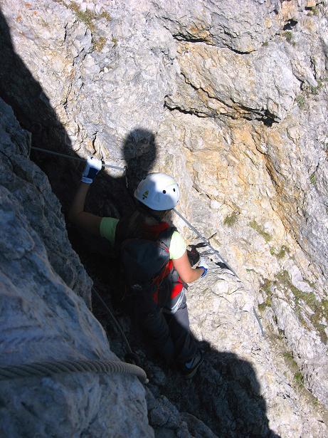 Foto: Andreas Koller / Klettersteig Tour / Piz da Lech (2910m): Südkar-Anstieg oder Klettersteig / Über eine ausgesetzte Wandstufe / 25.09.2008 20:12:20