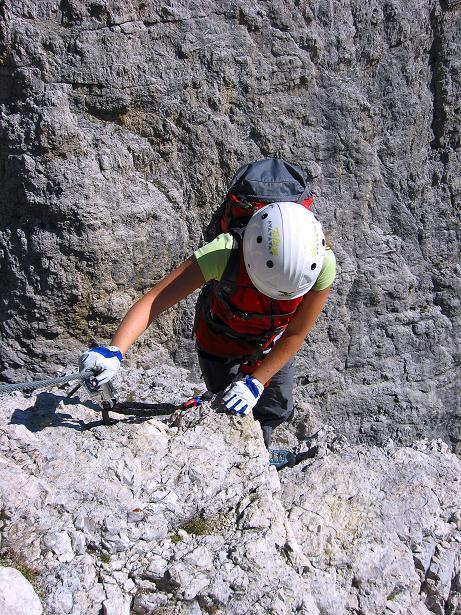 Foto: Andreas Koller / Klettersteig Tour / Piz da Lech (2910m): Südkar-Anstieg oder Klettersteig / Sehr steile und exponierte Wandpassage / 25.09.2008 20:12:05