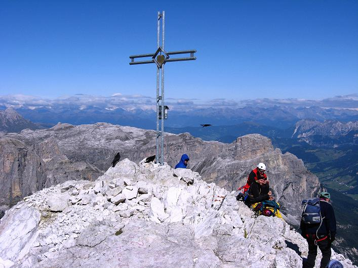 Foto: Andreas Koller / Klettersteig Tour / Piz da Lech (2910m): Südkar-Anstieg oder Klettersteig / Beim Gipfelkreuz des Piz da Lech / 25.09.2008 20:08:16