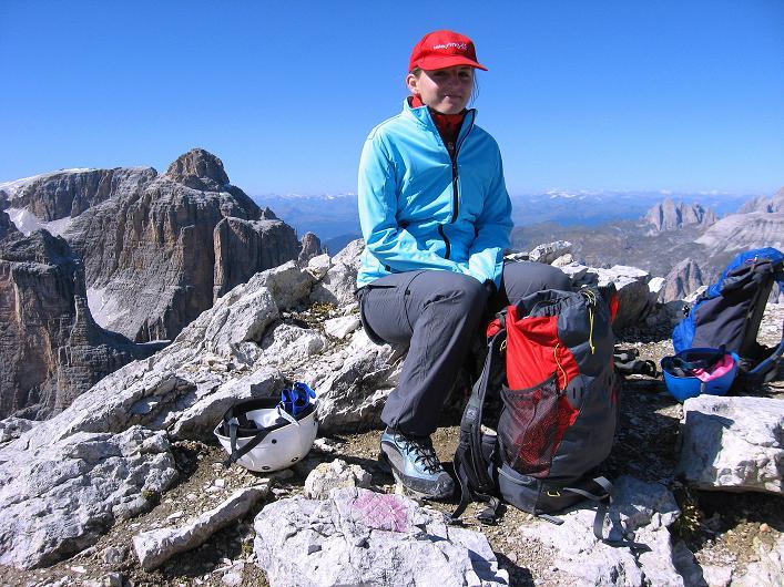 Foto: Andreas Koller / Klettersteig Tour / Piz da Lech (2910m): Südkar-Anstieg oder Klettersteig / Blick vom Gipfel zur Cima Pisadu (2986 m) / 25.09.2008 20:06:11