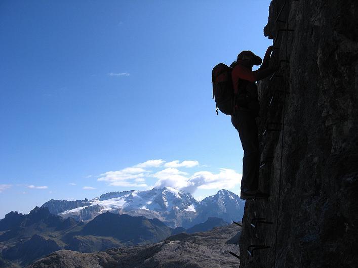 Foto: Andreas Koller / Klettersteig Tour / Piz da Lech (2910m): Südkar-Anstieg oder Klettersteig / Senkrechter Abstieg am Normalweg / 25.09.2008 20:02:12