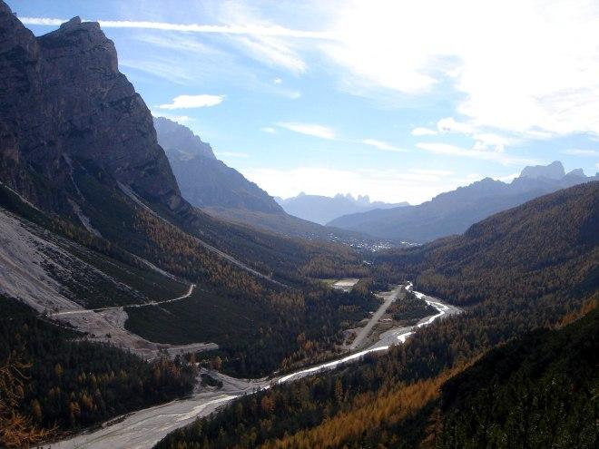 Foto: Manfred Karl / Klettersteig Tour / Col Rosá, Via ferrata Ettore Bovero / Blick nach Cortina / 25.09.2008 22:14:54