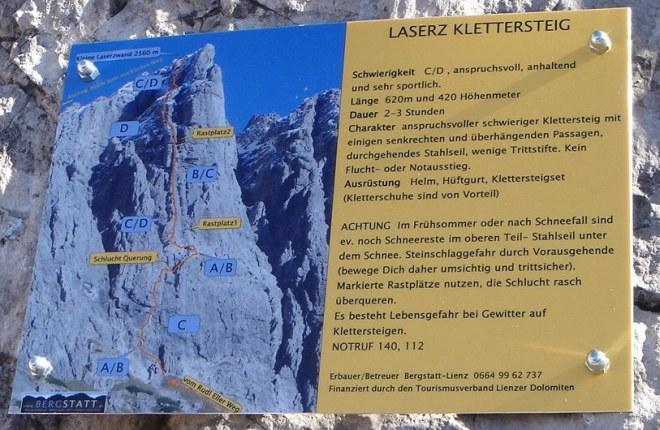 Foto: Manfred Karl / Klettersteig Tour / Laserz Klettersteig / Infotafel am Einstieg / 25.09.2008 22:42:04