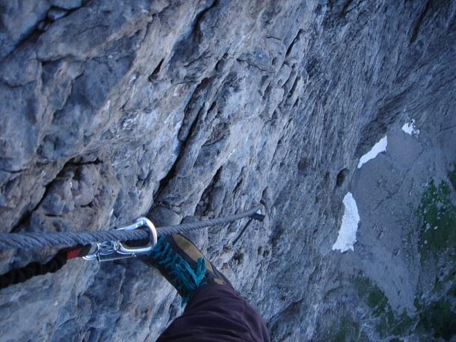 Foto: Manfred Karl / Klettersteig Tour / Laserz Klettersteig / Es geht steil zur Sache / 25.09.2008 22:40:53