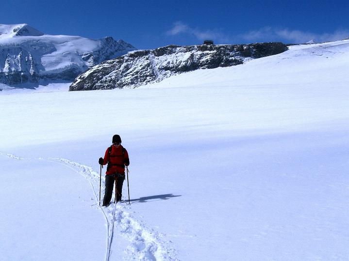 Foto: Andreas Koller / Wander Tour / Fuscherkarkopf (3336m) - Überschreitung / Am Südlichen Bockkarkees, im Hintergrund die Oberwalder Hütte / 02.10.2008 02:55:52