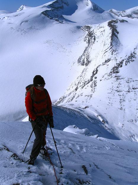 Foto: Andreas Koller / Wander Tour / Fuscherkarkopf (3336m) - Überschreitung / Am NW-Grat mit Blick in die Fuscherkar Scharte / 02.10.2008 02:53:10