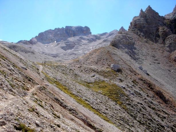 Foto: Manfred Karl / Klettersteig Tour / Via ferrata René de Pol / Forcella Verde, rechts geht es zurück nach Ospitale / 04.10.2008 17:07:22