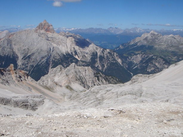 Foto: Manfred Karl / Klettersteig Tour / Via ferrata René de Pol / Rückblick über das Kar Gravon del Forame / 04.10.2008 17:03:52