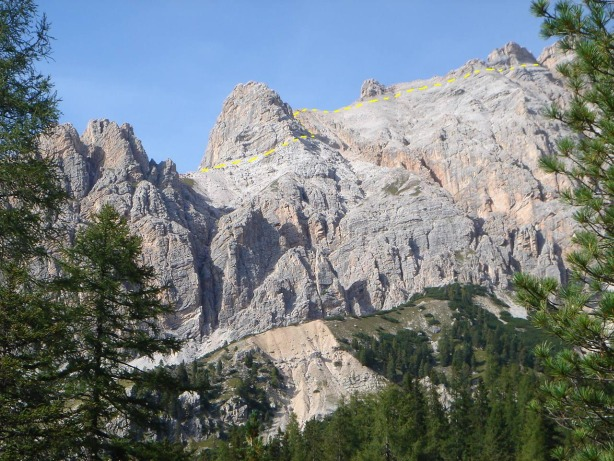 Foto: Manfred Karl / Klettersteig Tour / Via ferrata Ivano Dibona / Ungefährer Wegverlauf zwischen Forcella Bassa und Vecchio del Forame / 04.10.2008 16:05:12