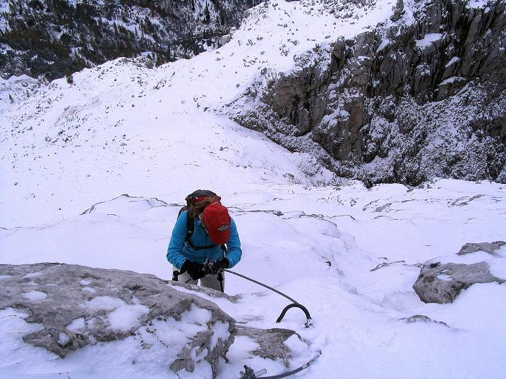 Foto: Andreas Koller / Klettersteig Tour / Ferrata Enrico Contin (2240m) / In der N-Flanke des Rosskofel / 06.10.2008 19:42:58