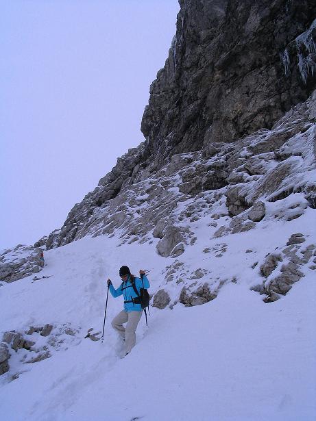Foto: Andreas Koller / Klettersteig Tour / Ferrata Enrico Contin (2240m) / Steil ist auch der Abstieg am Normalweg / 06.10.2008 19:37:54