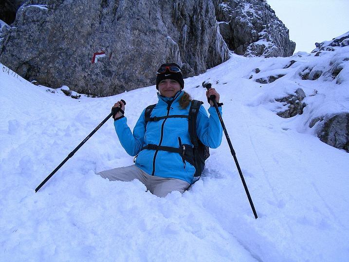 Foto: Andreas Koller / Klettersteig Tour / Ferrata Enrico Contin (2240m) / Kann schon mal passieren bei so viel Schnee! / 06.10.2008 19:37:21