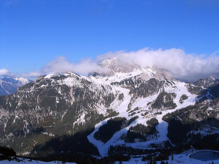 Foto: Andreas Koller / Klettersteig Tour / Ferrata Enrico Contin (2240m) / Blick auf den Gartnerkofel im O (2195 m) / 06.10.2008 19:35:13