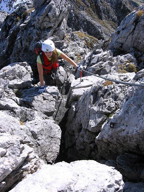 Foto: Andreas Koller / Klettersteig Tour / Innsbrucker Klettersteig - Hannes Gasser Panorama Klettersteig (2480m) / Kleiner Kamin zur Seegrubenspitze / 15.10.2008 01:36:08