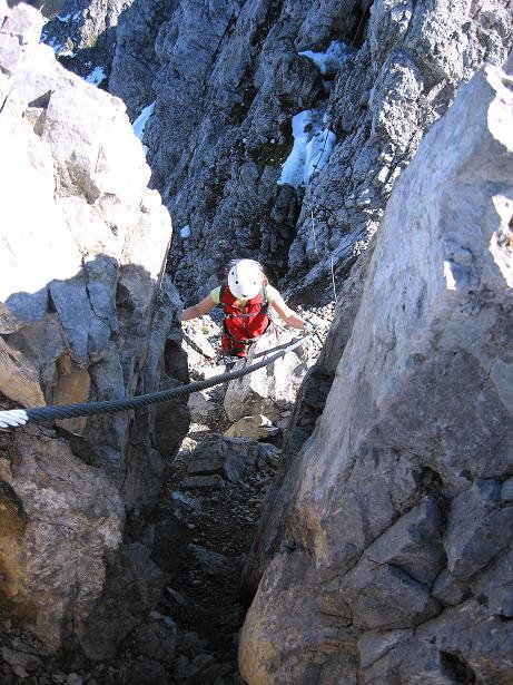 Foto: Andreas Koller / Klettersteig Tour / Innsbrucker Klettersteig - Hannes Gasser Panorama Klettersteig (2480m) / Abwechslungsreiche Kaminkletterei / 15.10.2008 01:29:40