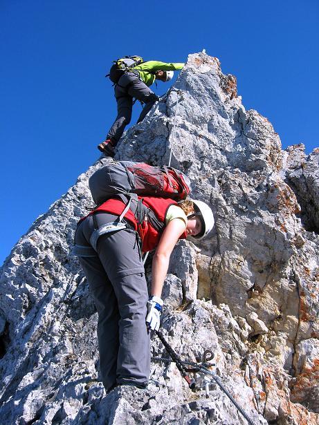 Foto: Andreas Koller / Klettersteig Tour / Innsbrucker Klettersteig - Hannes Gasser Panorama Klettersteig (2480m) / Steilabstieg vom Kemacher / 15.10.2008 01:16:33