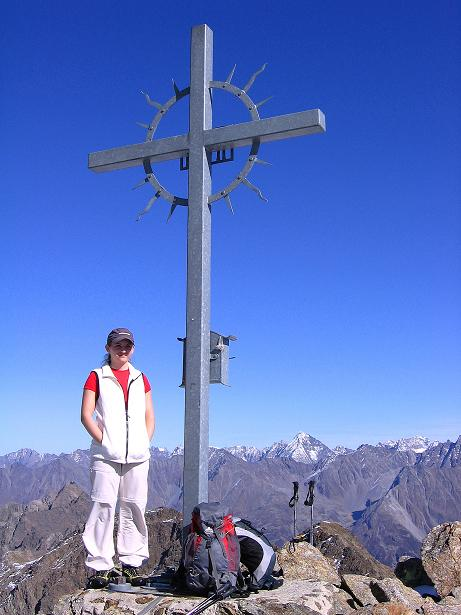 Foto: Andreas Koller / Wander Tour / Söldner Wandertour: Schwarzkogel (3018m) und Rotkogel (2947m) / Gipfelkreuz am Schwarzkogel / 16.10.2008 01:14:01