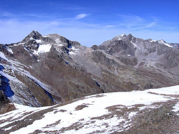 Foto: Andreas Koller / Wander Tour / Söldner Wandertour: Schwarzkogel (3018m) und Rotkogel (2947m) / Blick auf Puitkogel (3343 m) und die Hohe Geige (3395 m) / 16.10.2008 01:11:09