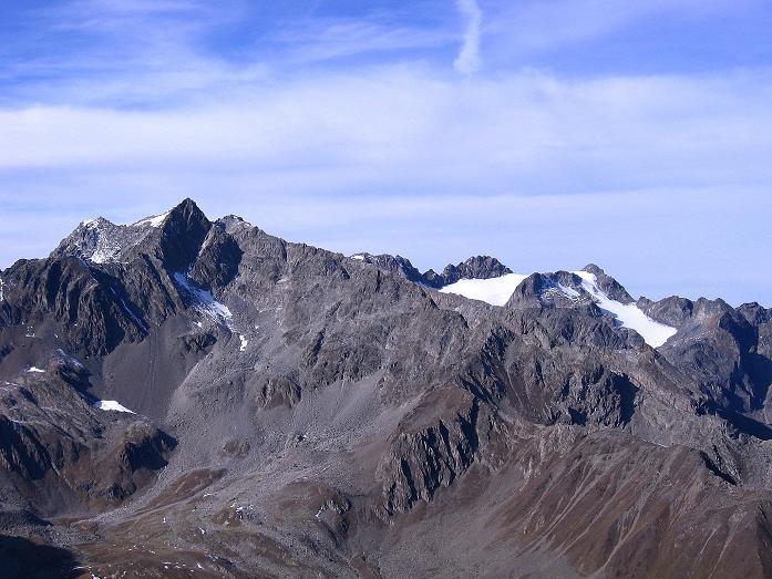 Foto: Andreas Koller / Wander Tour / Söldner Wandertour: Schwarzkogel (3018m) und Rotkogel (2947m) / Blick auf die Hohe Geige (3395 m) / 16.10.2008 01:00:55
