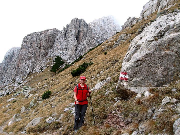 Foto: Andreas Koller / Klettersteig Tour / Via ferrata Crete Rosse und Uiberlacher Klettersteig (2280m) / Das gute Steiglein führt in die Trogkofel S-Wand / 22.10.2008 00:35:25