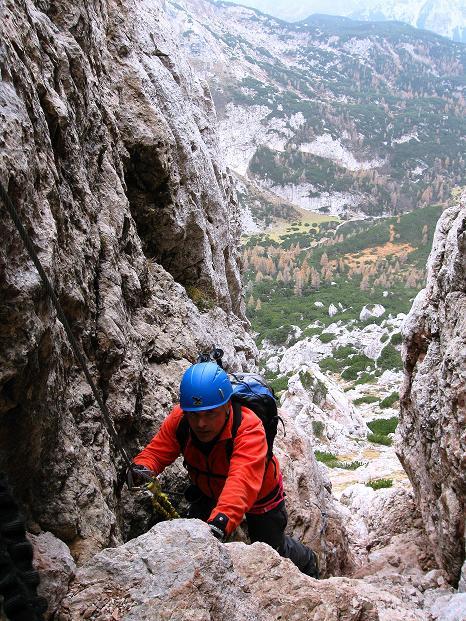 Foto: Andreas Koller / Klettersteig Tour / Via ferrata Crete Rosse und Uiberlacher Klettersteig (2280m) / In der steilen Rinne / 22.10.2008 00:33:25