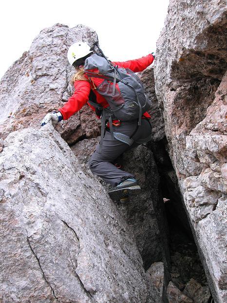 Foto: Andreas Koller / Klettersteig Tour / Via ferrata Crete Rosse und Uiberlacher Klettersteig (2280m) / Letztes Hindernis: Kletterstelle II / 22.10.2008 00:28:34