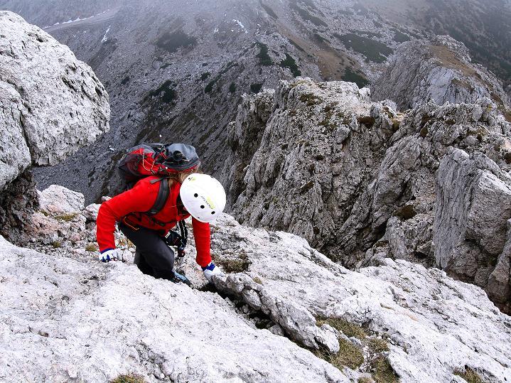 Foto: Andreas Koller / Klettersteig Tour / Via ferrata Crete Rosse und Uiberlacher Klettersteig (2280m) / In der Gipfelflanke ungesicherte Stellen I / 22.10.2008 00:27:23