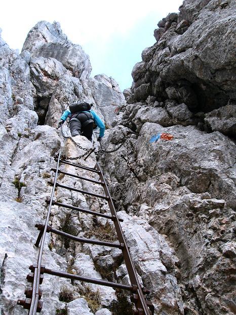 Foto: Andreas Koller / Klettersteig Tour / Via ferrata Crete Rosse und Uiberlacher Klettersteig (2280m) / Die einzige rassigere Passage am Uiberlacher Steig / 22.10.2008 00:21:57