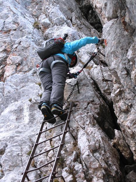 Foto: Andreas Koller / Klettersteig Tour / Via ferrata Crete Rosse und Uiberlacher Klettersteig (2280m) / Auf den steilen Leitern / 22.10.2008 00:21:32