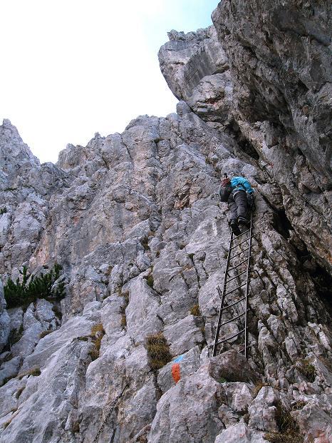Foto: Andreas Koller / Klettersteig Tour / Via ferrata Crete Rosse und Uiberlacher Klettersteig (2280m) / Untere Leiter am Uiberlacher Steig / 22.10.2008 00:21:11