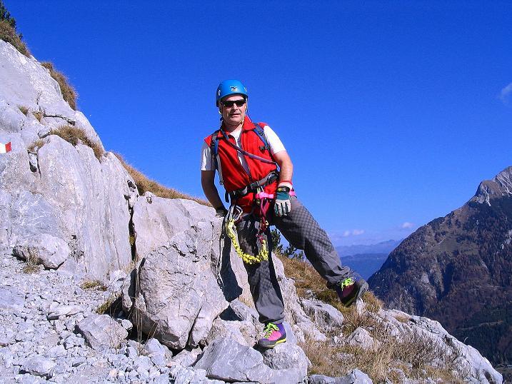 Foto: Andreas Koller / Klettersteig Tour / Cellon Stollen und Steinbergerweg (2241 m) / Auf der Schulter / 23.10.2008 01:18:12
