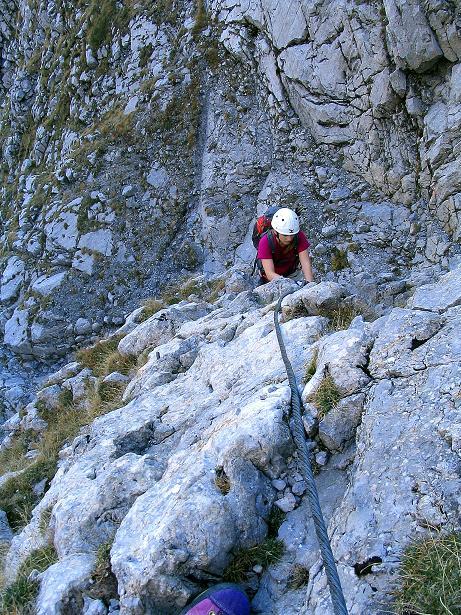 Foto: Andreas Koller / Klettersteig Tour / Cellon Stollen und Steinbergerweg (2241 m) / Schlüsselstelle Felsrippe / 23.10.2008 01:08:53