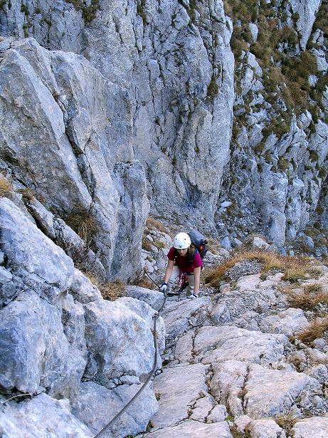 Foto: Andreas Koller / Klettersteig Tour / Cellon Stollen und Steinbergerweg (2241 m) / Nochmals steil hinauf zur Scharte / 23.10.2008 01:07:38