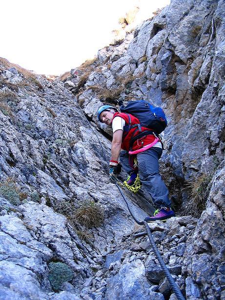 Foto: Andreas Koller / Klettersteig Tour / Cellon Stollen und Steinbergerweg (2241 m) / Die Ausstiegsrinne / 23.10.2008 01:07:14