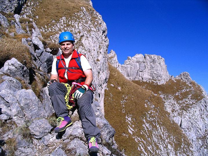 Foto: Andreas Koller / Klettersteig Tour / Cellon Stollen und Steinbergerweg (2241 m) / Rast am Ausstieg des Steingergerwegs / 23.10.2008 01:05:02