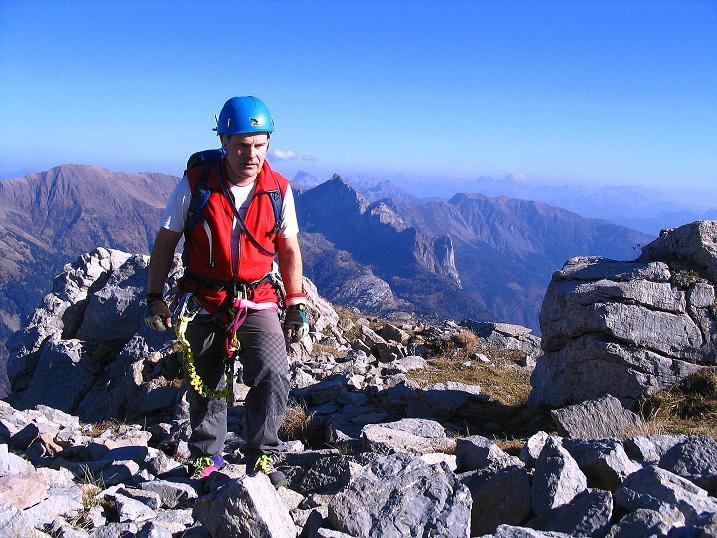 Foto: Andreas Koller / Klettersteig Tour / Cellon Stollen und Steinbergerweg (2241 m) / Knapp unterhalb des Gipfels / 23.10.2008 01:03:46