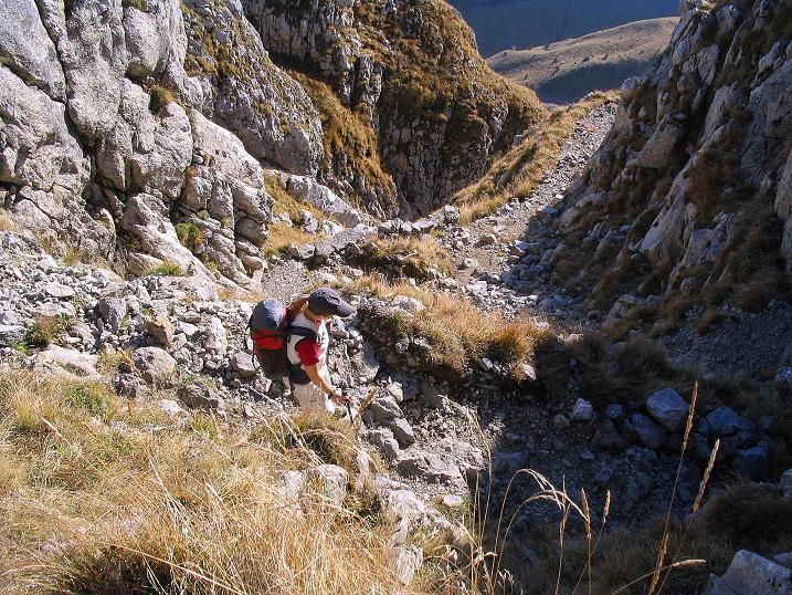 Foto: Andreas Koller / Klettersteig Tour / Cellon Stollen und Steinbergerweg (2241 m) / Abwechslungsreicher Normalweg im Abstieg / 23.10.2008 00:58:56
