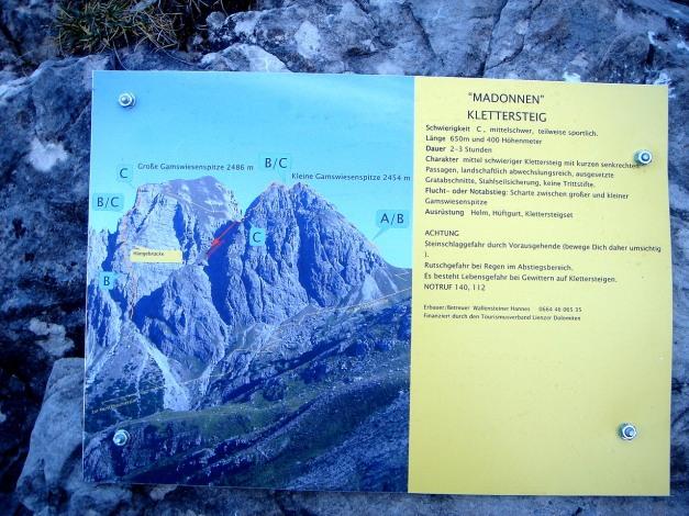 Foto: Manfred Karl / Klettersteig Tour / Madonnen - Klettersteig / Infotafel beim Einstieg / 28.10.2008 19:05:18