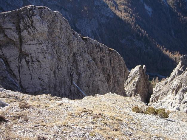 Foto: Manfred Karl / Klettersteig Tour / Madonnen - Klettersteig / Rückblick zur Hängebrücke / 28.10.2008 19:01:08