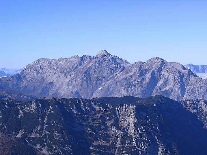 Foto: Andreas Koller / Klettersteig Tour / Hochkogelklettersteig (2303m) / Der Blick nach NW reicht bis zum Hohen Göll (2522 m) / 28.10.2008 22:22:19