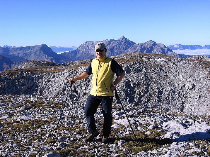 Foto: Andreas Koller / Klettersteig Tour / Hochkogelklettersteig (2303m) / Blick nach NW zum Hohen Göll (2522 m) / 28.10.2008 22:19:57