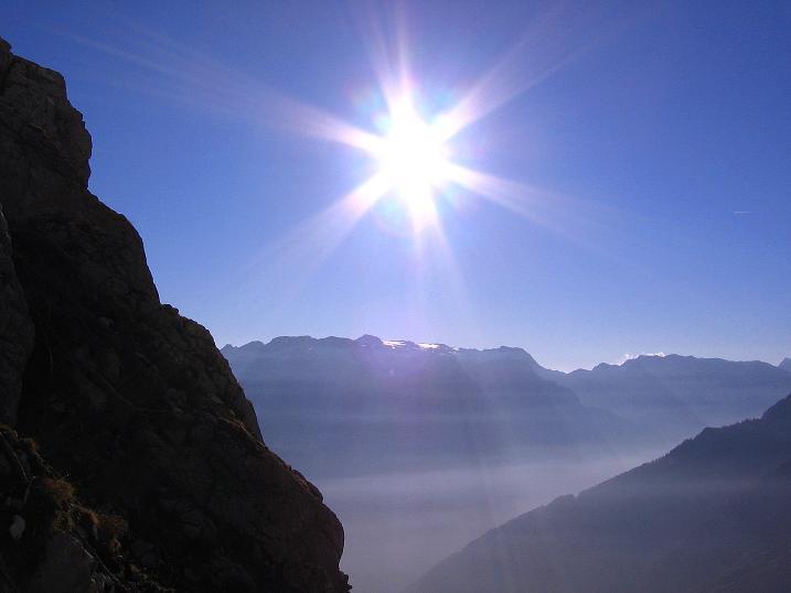 Foto: Andreas Koller / Klettersteig Tour / Hochkogelklettersteig (2303m) / Strahlender Sonnenschein über dem Hochkönig (2943 m) / 28.10.2008 22:18:02