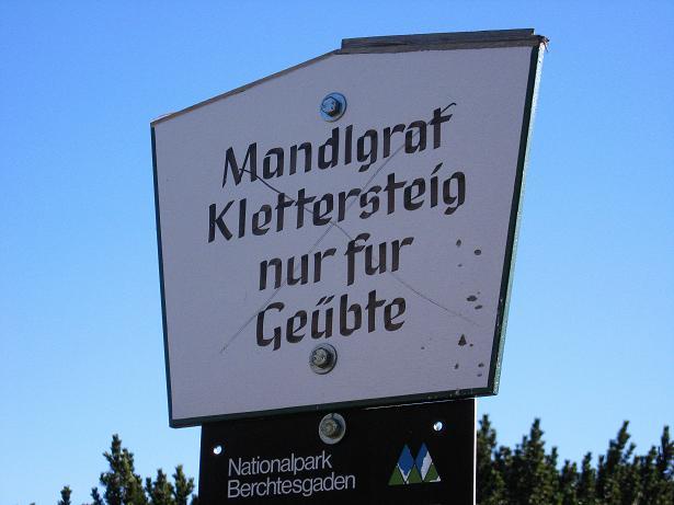 Foto: Andreas Koller / Klettersteig Tour / Klettersteig Mandlgrat / Mannlgrat auf den Hohen Göll (2522m) / Eine Tafel markiert den Einstieg / 30.10.2008 17:26:11